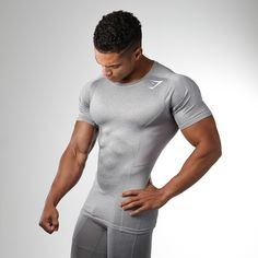 Gymshark Element Compression T-Shirt - Light Grey Marl