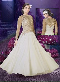 Richness White Faux Georgette Wedding and Party Wear Embroidery Touch Unique Gown