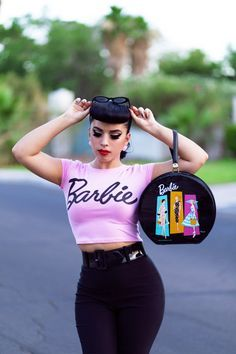 Tight crop top sass with high waisted and cat shades rockabilly pinup hair Pin Up Vintage, Look Vintage, Vintage Mode, Retro Vintage, Vintage Barbie, Rockabilly Style, Moda Rockabilly, Rockabilly Girls, Casual Rockabilly Fashion