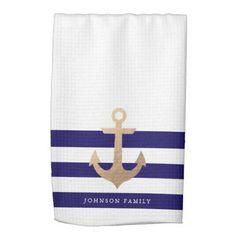Personalized | Nautical Anchor Kitchen Towel More nautical themed gifts and decor at http://nauticalgiftsdecorweddings.dramaticallycorrect.com/