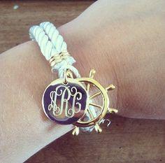 Monogrammed White Nautical Rope Bracelet