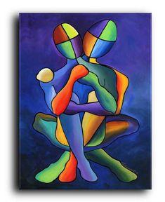 Gallery Canvas and Fine Art Prints by NYoriginalpaintings on Etsy Source by blankepita Figurative Print Art Amour, Art Couple, Modern Art, Contemporary Art, Pop Art, Figurative Kunst, Urbane Kunst, Cubism Art, Art Moderne
