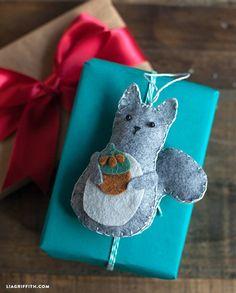 Felt Squirrel Gift Topper or Ornament Tutorial