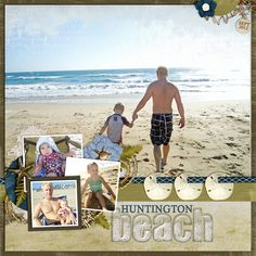 "Digital ""Huntington Beach"" Scrapbooking Page...with a sand dollar border  mini pictures.  Trixie Scraps."