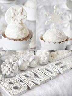 Trend Alert: All White Bridal Shower. Love these sparkling white dessert options for a winter bridal shower.