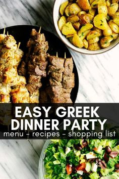 dinner party menu ideas Throw an authentic Greek dinner party for a small group with this fully planned Greek menu. This includes easy to recipes and a full shopping list. Make throwing a dinner party easy with this helpful guide. Summer Dinner Party Menu, Dinner Club, Dinner Party Foods, Easy Group Dinner, Birthday Dinner Menu, Dinner Parties, Party Drinks, Dinner Outfits, Greek Menu