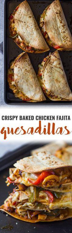 Crispy Baked Chicken Fajita Quesadillas