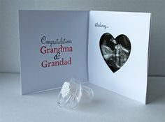 surprise/congratulations card for family members - allows room for an ultrasound photo.