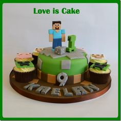 This minecraft cake was made for my own son who is a HUGE fan. All handmade and fully edible, though he won't let us eat 'Steve' or the 'Creeper' :) Minecraft Birthday Cake, Cupcake Birthday Cake, Minecraft Cake, Cupcake Cakes, Minecraft Party, Minecraft Ideas, Minecraft Perler, Minecraft Crafts, Minecraft Skins