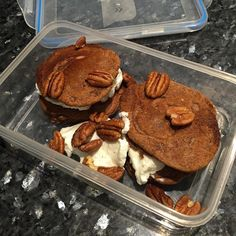 No excuse not to have breakfast. It just requires a bit of planning. Cappuccino inspired pancakes total yogurt and pecans #lowcarb #breakfast #preprepped #preprepared #heressomeimadeearlier #pancakes #proteinpancakes #coffee #organiccacao #cacao #totalgreekyogurt #pecan #noplategame by d4rr3n1985