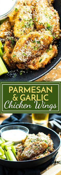 Parmesan and Garlic Baked Wings Parmesan Garlic Baked Chicken Wings are tossed in a parmesan and garlic sauce and then baked in the oven. These wings are super crispy and finger lickin' good! A perfect appetizer for parties, tailgating or the Super Bowl. Appetizers For Party, Appetizer Recipes, Dinner Recipes, Appetizers For Super Bowl, Christmas Appetizers, Party Snacks, Drink Recipes, Chicken Recipes, Air Fryer Recipes Chicken Wings