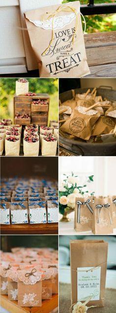 country rustic kraft wedding favor bags