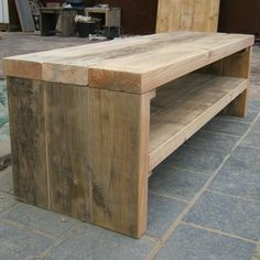 Damwandhout-tv-meubel-Marlow Steel Furniture, Wooden Furniture, Furniture Plans, Diy Coffee Table, Diy Table, Rustic Industrial Furniture, Tv Bench, Diy Tv Stand, Wood Steel
