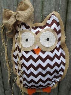 Owl Burlap Door Hanger Door Decoration Brown Chevron Pattern on Etsy, $28.00 by ophelia