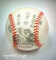 Hand print on baseball...LOVE this idea. Maybe for when he plays his first Tball game