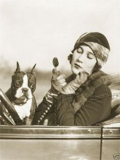 circa 1920s woman in an automobile with compact and Boston Terrier