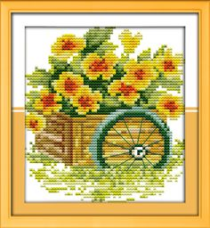 Home Decor Discounts Sale Counted Printed On Fabric Dmc 14ct 11ct Cross Stitch Kits,embroidery Needlework Sets Reasonable Orange Flower