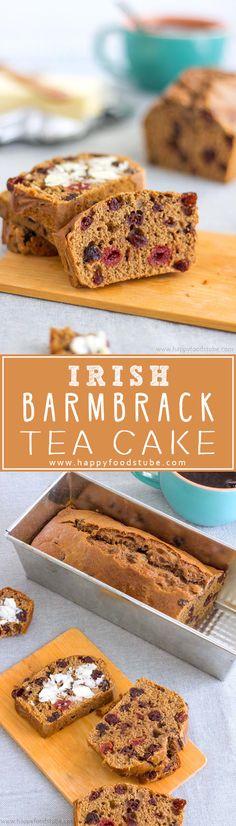 Irish Barmbrack Tea Cake or Irish Tea Brack. Traditional Halloween treat in Ireland. Dried fruit & spices make it extra delicious! Try my yeast-free recipe! | happyfoodstube.com