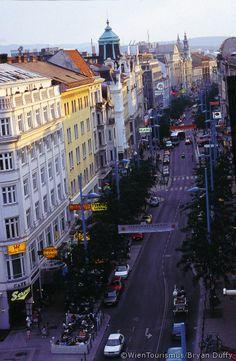 Mariahilferstrasse shopping street.