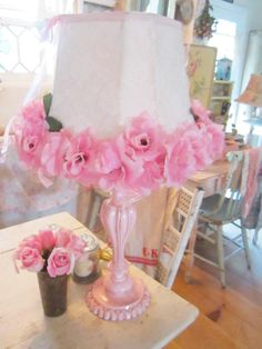 Pink lamp with roses and lace shade victorian shabby chic. $39.00, via Etsy.