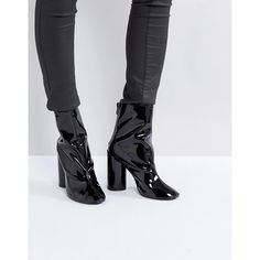 Public Desire Impact Black Patent High Cut Ankle Boots (210 BRL) ❤ liked on Polyvore featuring shoes, boots, ankle booties, black, short black boots, black ankle booties, black boots, black booties and black high heel boots
