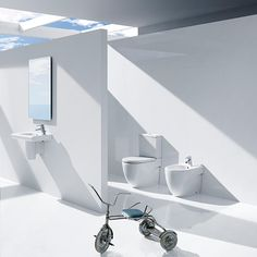 Toilet & Basin Suite - Roca - Meridian-N Compact Close Coupled Toilet And Basin With Semi-Pedestal (Left Or Right Hand Tap Hole) - Modern Toilet & Basin Suites - Bathroom Suites - Bathroom Modern Toilet, Modern Bathroom, Dream Bathrooms, Beautiful Bathrooms, Set Wc, Roca Bathroom, Wc Compact, Cloakroom Suites, Modern Bathrooms