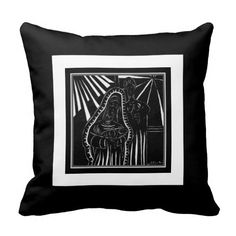 Black White Abstract Nativity Religious Christmas Pillow