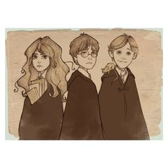 Harry,Ron and Hermione in their third year. I gave Harry the marauders map, Ron Scabbers (aka peter pettigrew) and Hermione the time turner and of cours. Harry Potter Fan Art, Harry Potter Drawings, Harry Potter Universal, Harry Potter Fandom, Harry Potter World, Hermione Granger, Harry Ron Hermione, Ron Weasley, Jarry Potter