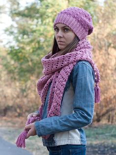 Pink woman crochet beanie hat and wrap, knit lace shawl, womens knit winter hat, knit neck warmer, crochet pink wrap, crochet winter hat by SanniKnitting on Etsy