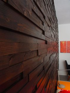 wood wall with dimensional feature