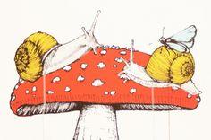 Mushroom by Sage Vaughn Dogs And Puppies, Stuffed Mushrooms, Snails, Whales, Drawings, Art, Stuff Mushrooms, Art Background, Kunst