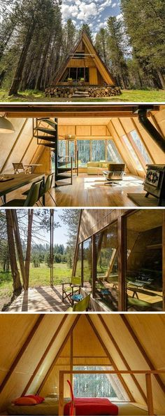 """We love the look of this forest cabin -- reimagined with a sleek style. The bright red paint pops on the A-frame roof.  The open floor plan and walls of windows bring the serene surroundings indoors, day and night. """"When you step up on the porch, it's got a view of the mountains."""""""