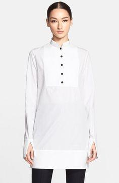 Alexander McQueen Long Sleeve Cotton Poplin Tunic Shirt