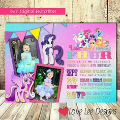 My little pony invitation / girl / party / pink by LoveLeeDesigns1, $12.00