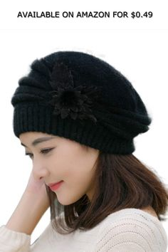 Red Ta Fashion Womens Flower Knitted Crochet Beanie Hat Winter Warm Cap  Beret ◇ AVAILABLE ON AMAZON FOR   0.49 ◇ 195a18a1f9d2