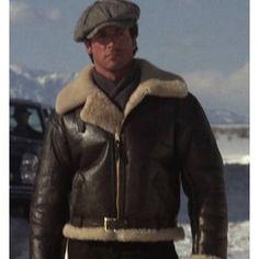Bomber Style Rocky Balboa Real Sheepskin Shearling Leather Jacket - Rocky 4 Balboa Jacket