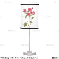 Table Lamp with a flower vintage illustration