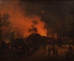 Københavns bombardement set fra volden ud for Rosenborg Slot. Himlen oplyses af congrevske raketter, og Vor Frue Kirkes tårn er i brand. En bombe eksploderer i forgrunden og oplyser scenen, hvor en officer er ved at bringe sin familie i sikkerhed. Derudover kan man bl.a. også se en mand på en båre fulgt af en kvinde. Maleriet er malet af Christoffer Wilhelm Eckersberg i 1807. Eckersberg var selv til stede i Købehavn under bombardementet.