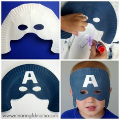 Paper Plate Captain America Mask Craft My son absolutely loved making and wearing these superhero paper plate masks. Captain America Party, Captain America Birthday, Summer Camp Crafts, Camping Crafts, Costume Super Hero, Anniversaire Captain America, Captain America Halloween Costume, Superhero Preschool, Avengers