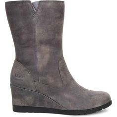 UGG Women's Joely Charcoal Boots ($200) ❤ liked on Polyvore featuring shoes, boots, ankle boots, grey, leather wedge boots, wedge boots, leather ankle boots and wedge heel boots
