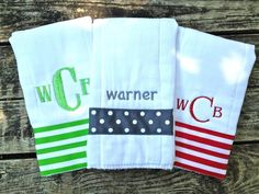 Boys Personalized Burp Cloths by LittleBearClothingCo on Etsy