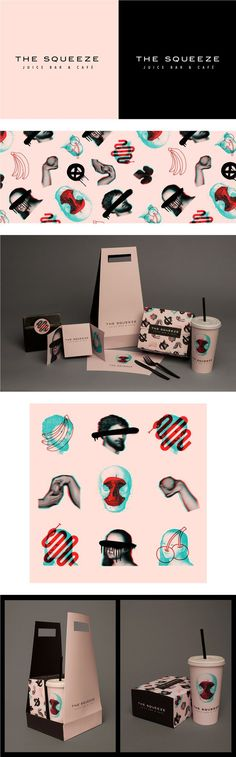 The Squeeze Juice Bar & Cafe Takeaway Packaging by Laura Pursel