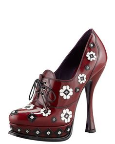 Floral Applique Lace-Up Pump by Prada at Bergdorf Goodman.