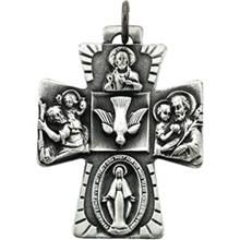 Catholic Four Way Cross Necklace With Chain Sterling Silver - All Patron Saints
