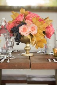 Centerpiece Inspiration- love the gold leaves as accent and minus the grapes