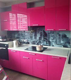 Kitchen Sets, New Kitchen, Kitchen Decor, Purple Kitchen, Kitchen Colors, Bedroom Bed Design, Pink Houses, Kitchen Remodel, Decoration