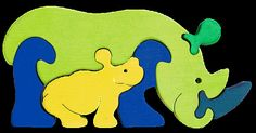 Rhino family -Montessori - Waldorf wooden puzzle, made by hand of maple wood,no harmful colors and no lacquer