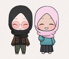 Cute Cartoon Drawings, Cartoon Pics, Girl Cartoon, Cartoon Art, Hijab Drawing, Cute Kawaii Girl, Islamic Cartoon, Hijab Cartoon, Friend Anime