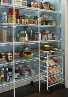 pantry storage chic wire mesh pantry shelving on black plastic caster wheel with unfinished butcher block countertops also large glass cookie jar with stainless steel lid ~ kitchen pantry ideas