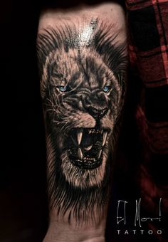 lion tattoo black and grey
